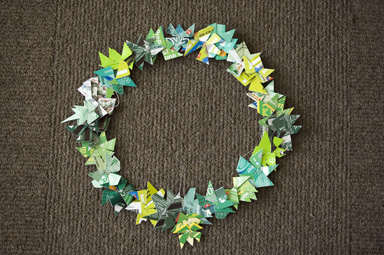 credit card wreath for hayes valley circle of joy benefit auction